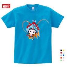 Топы для девочек в стиле пекинской оперы футболка китайском