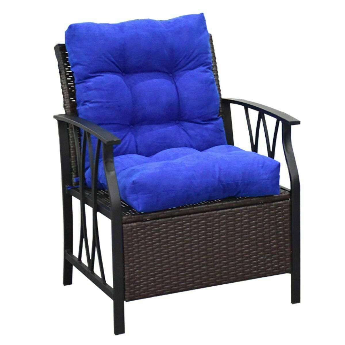Costway 42'' Seat/Back Chair Cushion Tufted Pillow Indoor Outdoor Swing Glider Seat Blue