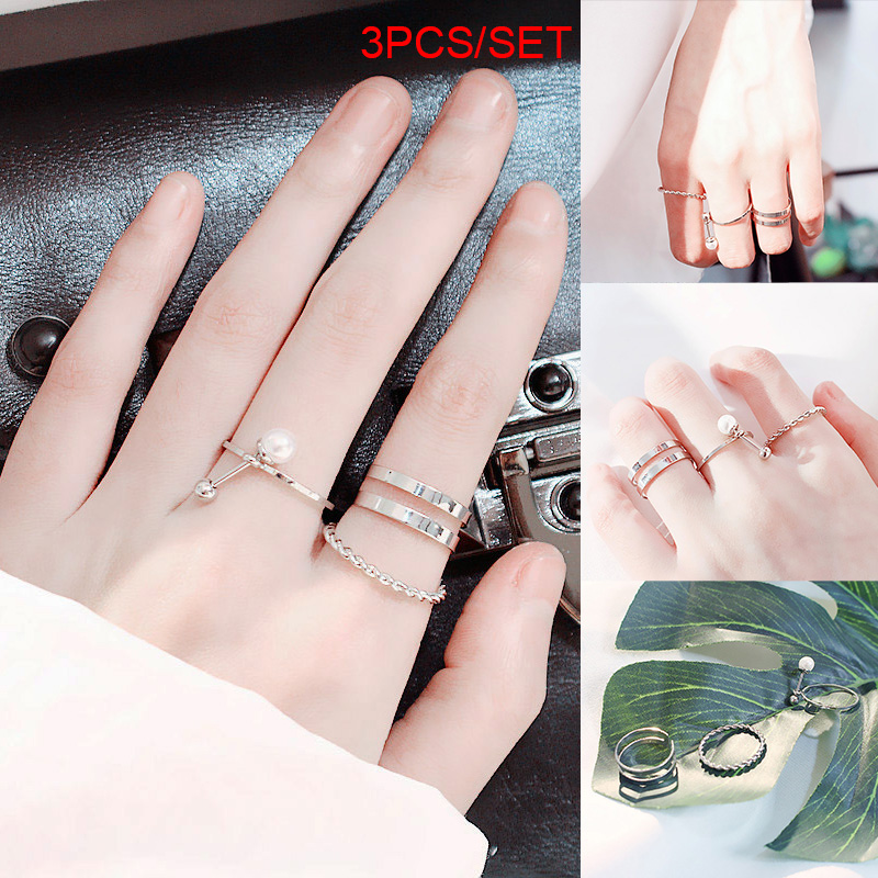 Korean Style Trendy Elegant Silver Plated Pearl Twisted Ring Open Ring Jewelry