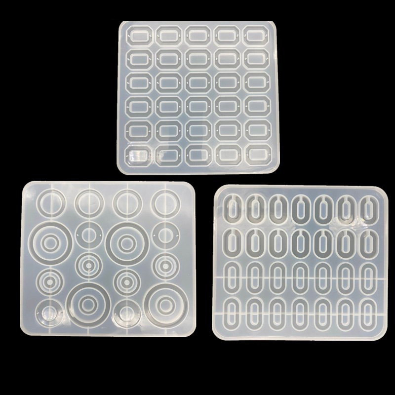 Batch Making Charm Pendant Silicone Mold UV Resin Jewelry Mold Earring Round Square Rectangular Pendant Mold