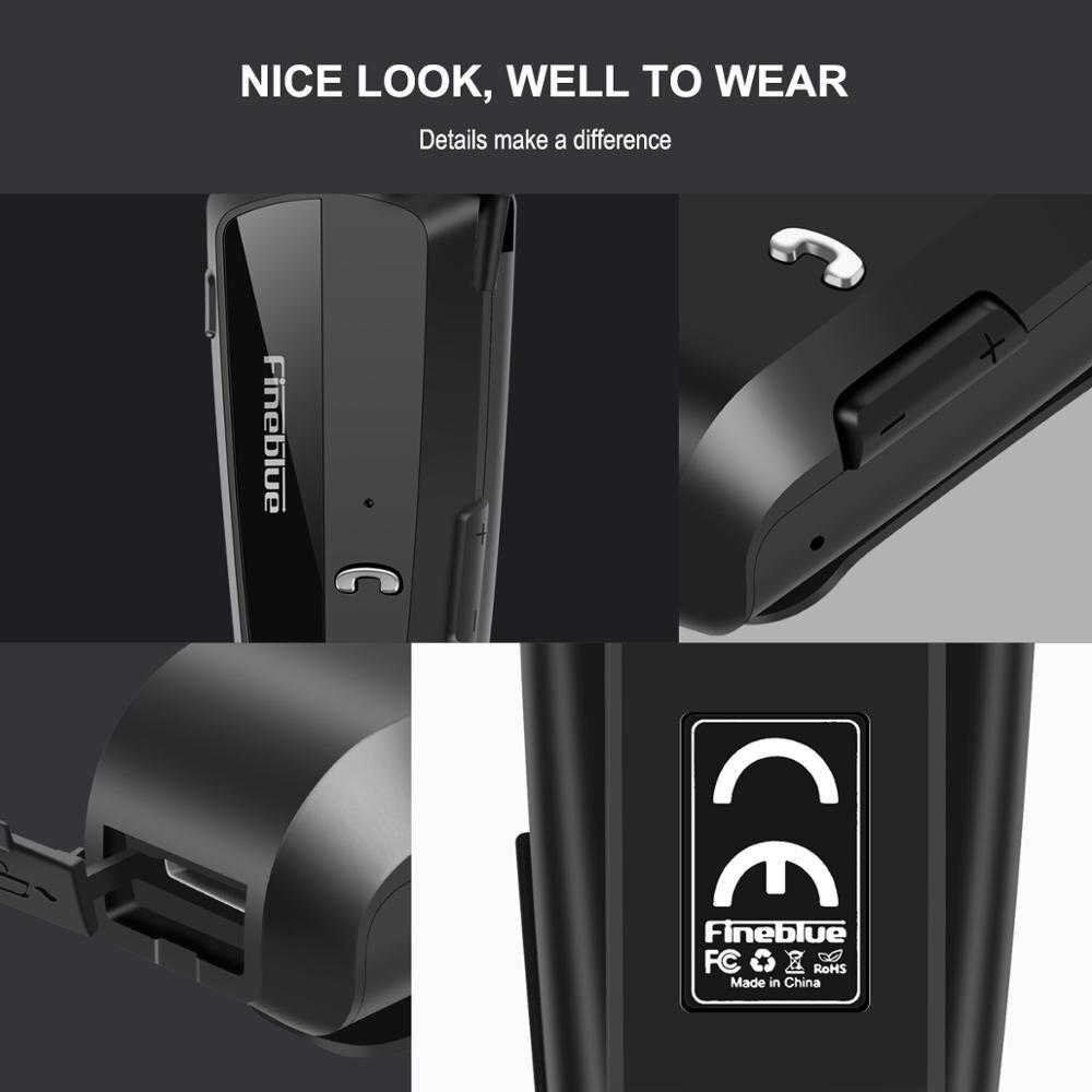 Najnowszy Fineblue F990 przenośny biznes bezprzewodowy zestaw słuchawkowy Bluetooth teleskopowy typ przypinany kołnierz dźwięk hd jakość słuchawki z mikrofonem