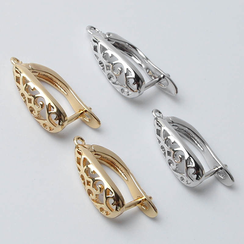 Popular DIY Earrings Clasps Hooks For Woman Handmade Jewelry Making Accessories Fashion Design Hollow Earrings Hooks