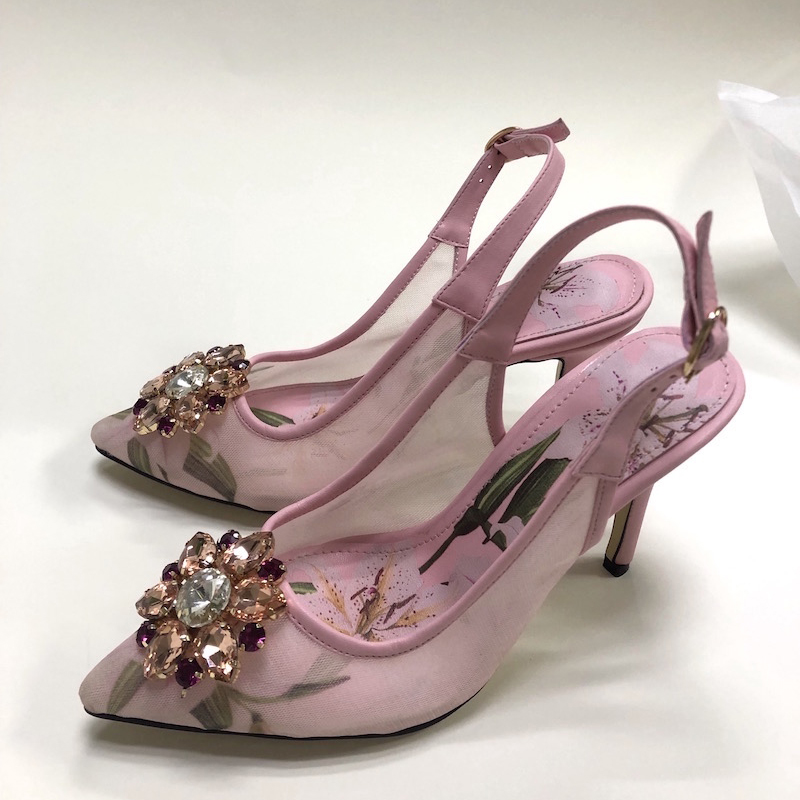 High Heel Mesh Slingbacks Pink Floral Printing Gemstone Bridal Dress Shoes Plus Size Wedding Party Shoes Women