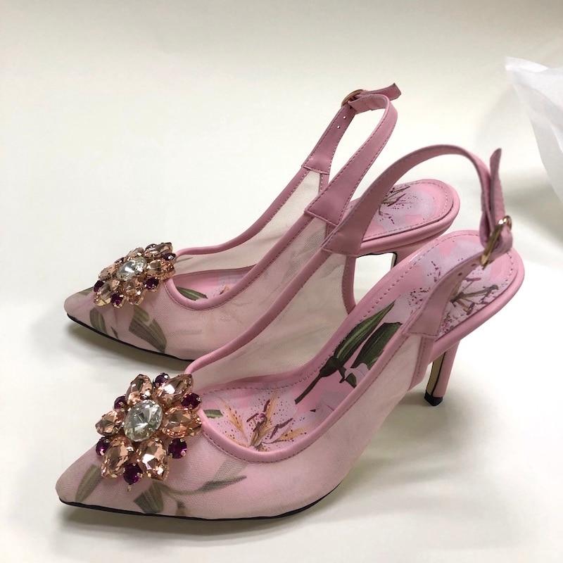 High Heel Mesh Slingbacks Pink Floral Printing Gemstone Bridal Dress Shoes Plus Size Wedding Party Shoes Women