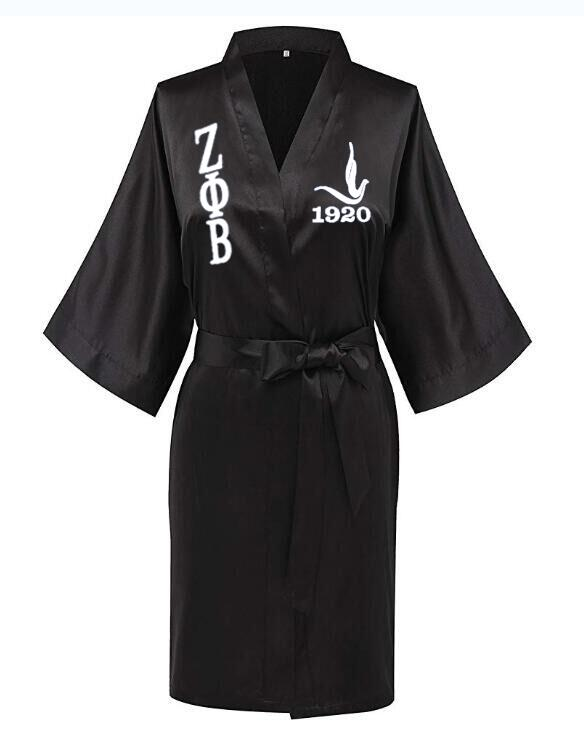 Image 4 - Custom Greek Letter Sorority White Blue Zeta PHI Beta Robe Sleepwear Silk Half Sleeve Nightwear For Women LadyRobes   -