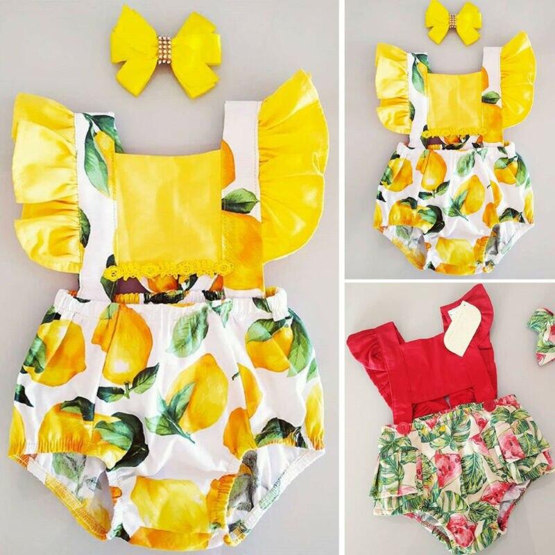 Summer Toddler Baby Girl Fruit Print Tassel Romper Jumpsuit Headband Outfits Set