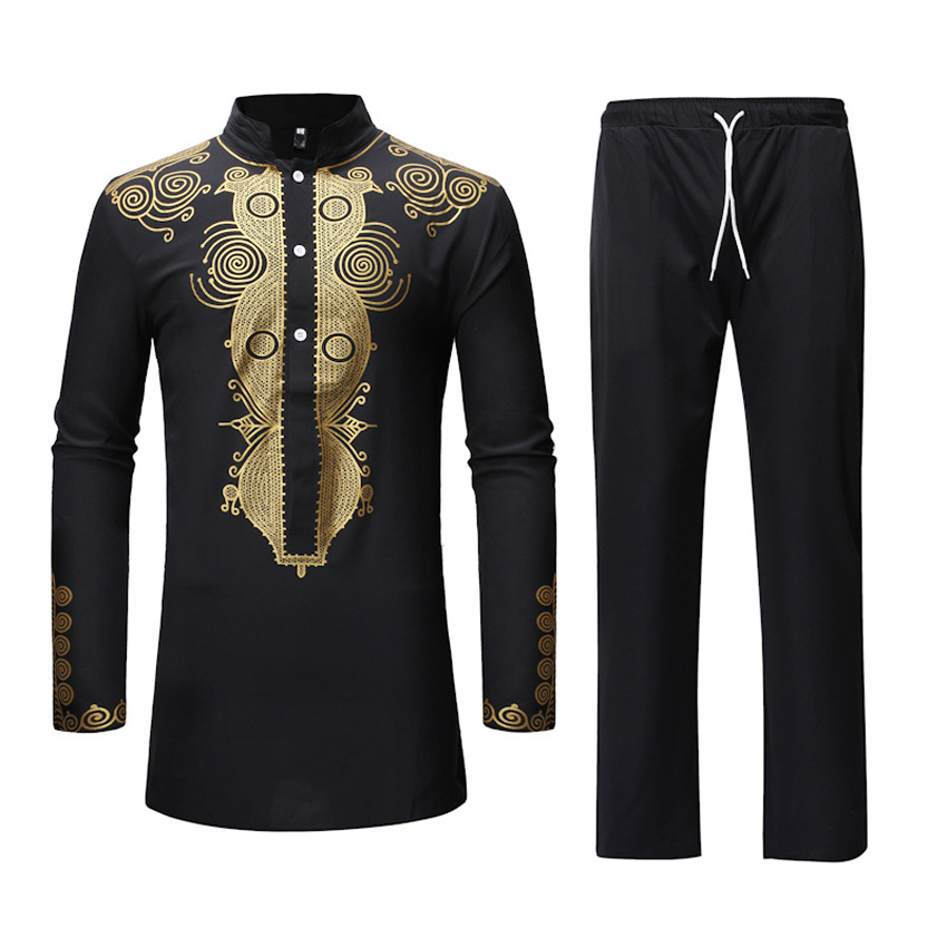 2pieces Clothing Set Black Dashiki 3D Print Shirt Tops Trousers For Man African Ethnic Dashiki T-shirt Cotton Bazin Riche