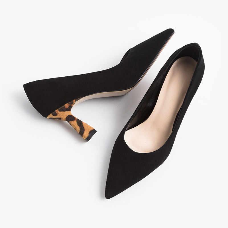 ASUMER 2020 nieuwe aankomst suède vrouwen pompen mode Luipaard hak partij bruiloft schoenen dames lente zomer enkele schoenen