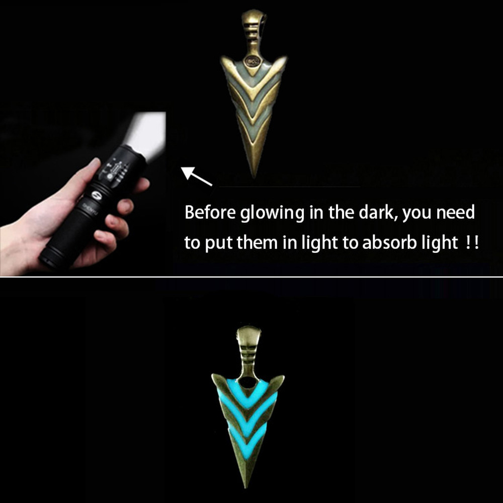Luminous Glowing Arrow Pendant Necklace Knight Spear Necklace Glow In The Dark Pike Necklace for Women Men Halloween Gift