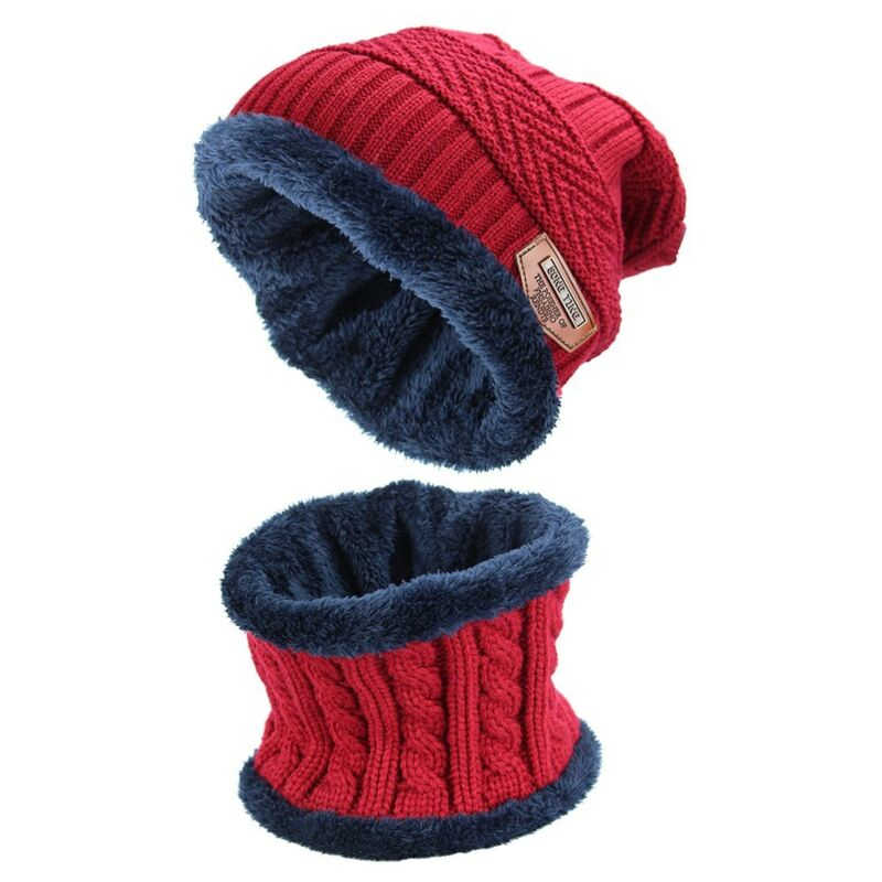 2pcs Scarf Men's Cap Skull Set Knitted Warm Winter Hat Beanie With