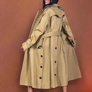 Image 2 - Chiceverの秋のコートルースウインドブレーカー女性特大長袖ハイウエストサッシコートと女性の衣類のファッション