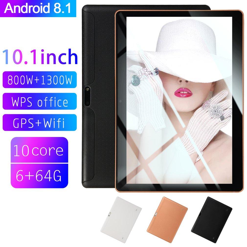 10.1 pouces pour Android 8.1 tablette en plastique PC 6GB + 64GB dix-Core WIFI tablette 16.0MP caméra double SIM caméra Wifi téléphone Phablet