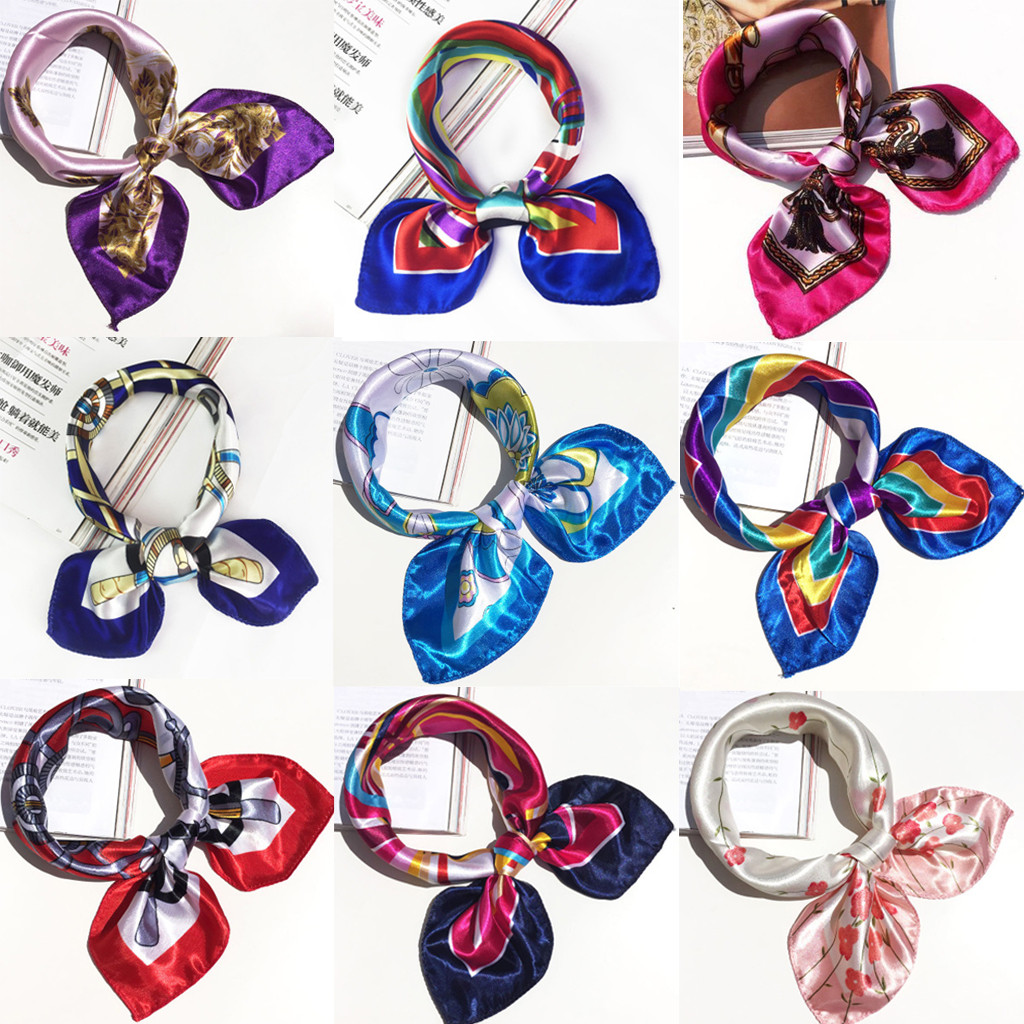 2019 Square   Scarf   Hair Tie Band Women Elegant Small Vintage Skinny   scarf   Retro Head Neck Silk   Scarf   square   scarves   foulard