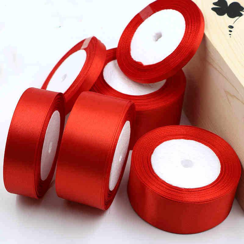 25 Yards 6/10/15/ 20/25/40/50mm Satin Bänder DIY Künstliche Seide Rosen Handwerk Liefert Nähen zubehör Scrapbooking Material