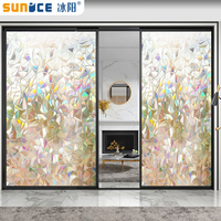 SUNICE 90cm*1500cm 3D Static Clings Window Film Decoration Home Office Place Partation Without Glue Easy to Install