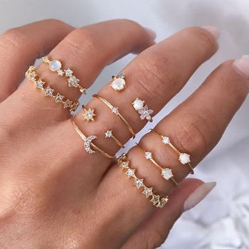 Vintage Gold Color Crystal  Star Moon Rings Set For Women Boho Knuckle Finger Ring Female Fashion Jewelry Accessories 2020 New 1