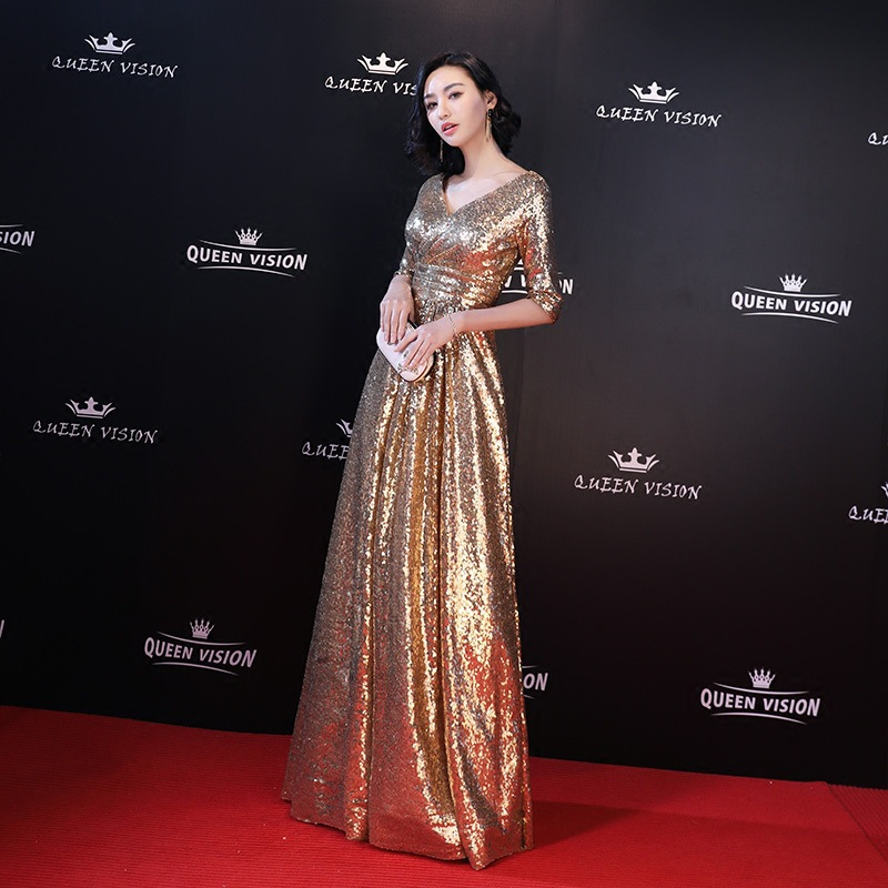 2019 Autumn New Style Evening Gown Women's Banquet Nobility Elegant Long Slimming Party Host Gold Dress Women's
