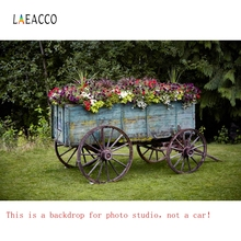 Laeacco Garden Flowers Wheel Barrow Vine Natural Photography Backgrounds Customized Photographic Backdrop For Photo Studio