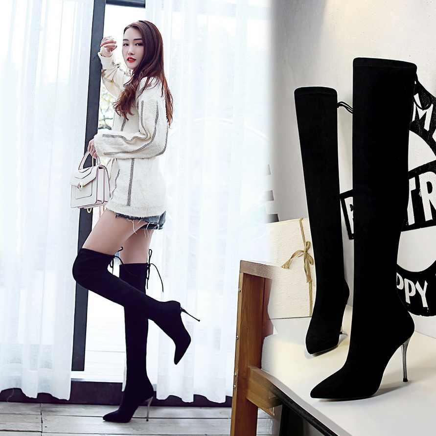 แฟชั่น Flock ถุงเท้ารองเท้าผู้หญิงสีดำฤดูหนาวบางส้นสูงรองเท้าบู๊ตเข่าสุภาพสตรีของแข็ง toe ตุ๊กตาสั้น Booties