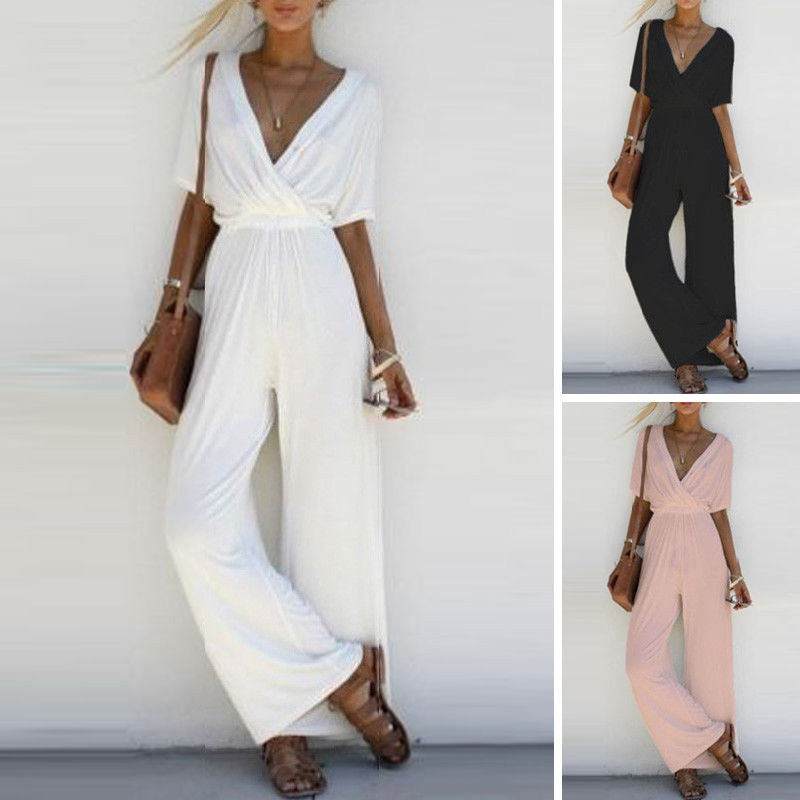 Women Ladies V-Neck Jumpsuit Bodycon Romper Short Sleeve Long Wide Leg Pants Casual Loose Ladies Solid Jumpsuits