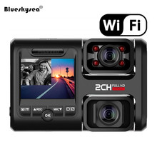 Car Dual Dash Cam WiFi GPS Camera DVR 1080P Full HD Front & Rear for Car Recorder IPS Screen 170° Wide Angle Loop Recording цена 2017