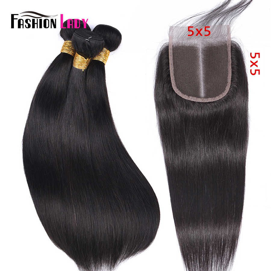 FASHION LADY Brazilian Straight Hair Weave 100% Human Hair 3 Bundles With 5x5 inch Lace Closure Middle Part 1b# Non-Remy