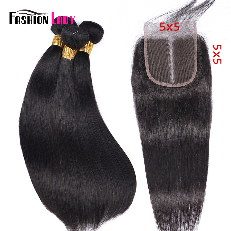 FASHION LADY Brazilian Straight Hair Weave 100% Human Hair 3 <font><b>Bundles</b></font> <font><b>With</b></font> 5x5 inch Lace <font><b>Closure</b></font> Middle Part 1b# Non-Remy image