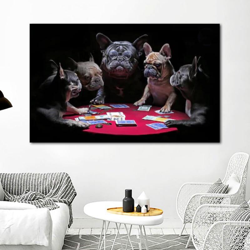 RELIABLI художественные постеры с игральными картами для собак и принты животных, изображения бульдога для дома, настенное искусство для гости...