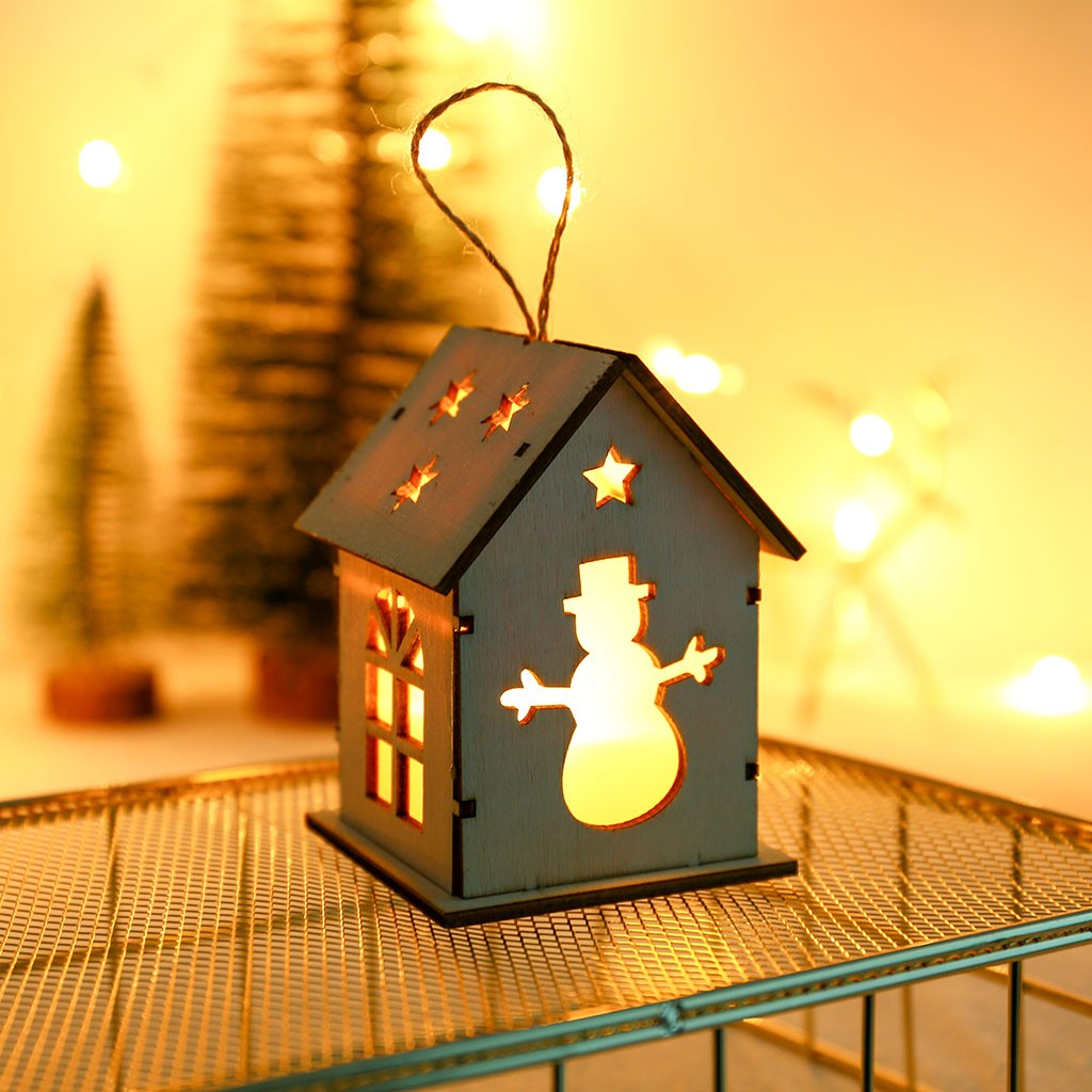 Us 1 88 37 Off Small Wooden Led House Lighted Cabin For Party Wedding Decoration Christmas Toy Hanging Led Wooden Christmas Party Decorations On