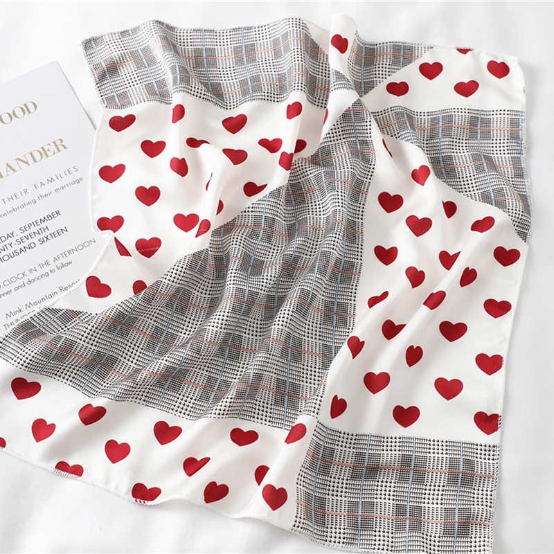 Lenço de seda quadrado moda feminina impressão pequena pescoço scarfs escritório senhora faixa de cabelo foulard mão lenço feminino bandana xale 2020