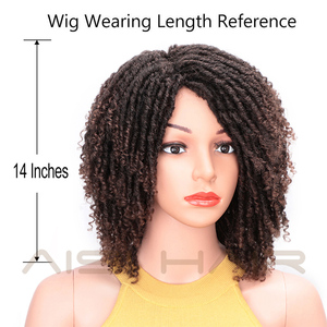 Image 3 - AISI HAIR Soft Short Synthetic Wigs for Black Women 14 inch Dreadlock Ombre Burg Crochet Twist Hair Heat Resistant Fiber