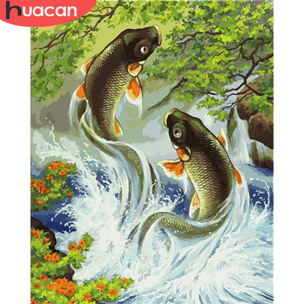 HUACAN Painting By Numbers Animal Kits Drawing Canvas DIY HandPainted Fish Pictures Art Gift Home Decor