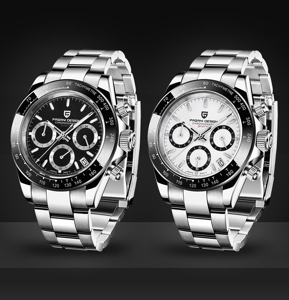 PAGANI Дизайн черный циферблат Многофункциональный кварцевый хронограф Тахиметр мужские часы - 4