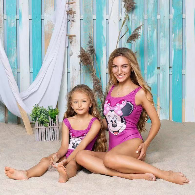 Mother And Daughter Swimsuits Minnie Family Matching Swimwear Cartoon Mommy And Me Bikini Dresses Daughter Sunsuit Outfits