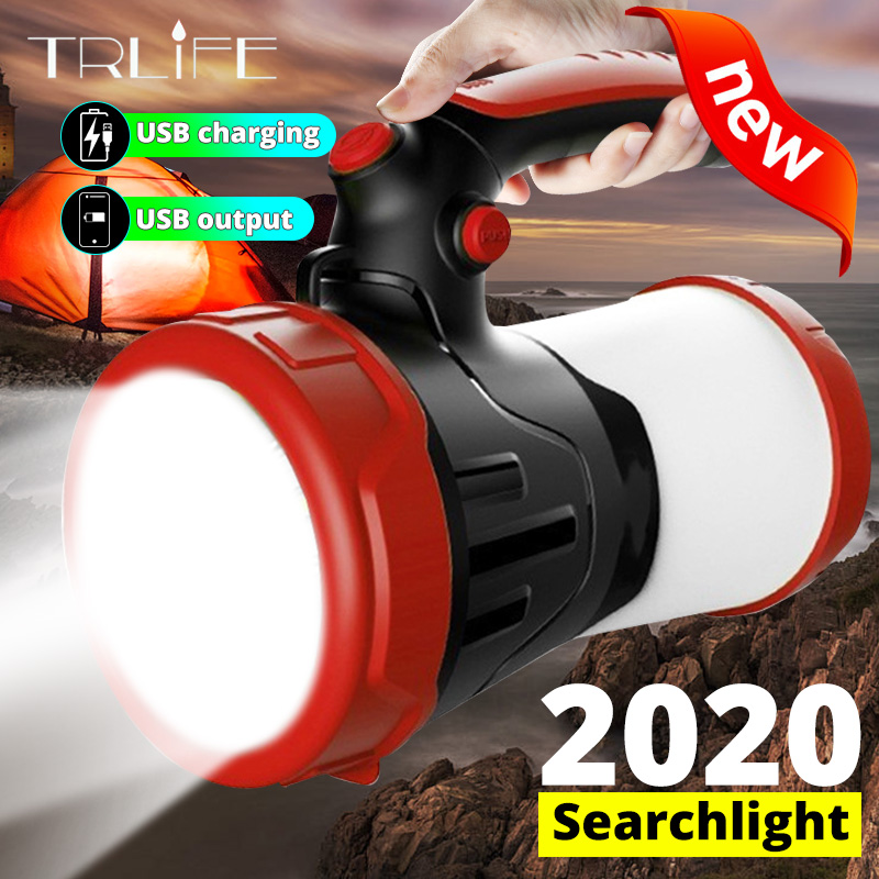 6000mAh Powerful Camping Flashlight Multifunctional Portable LED Searchlight Waterproof Hunting Light Lantern Built-in Battery