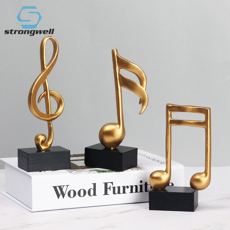 Strongwell European Music Symbol Stave Notation Figurine Resin Crafts Statue Art Ornament Desktop Home Decoration Birthday Gift