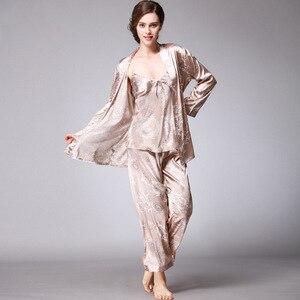 Image 5 - QWEEK seksi uyku salonu 3 adet v yaka kadın pijama seti zarif baskı uzun kollu pijama kadın pijama kadın kıyafeti