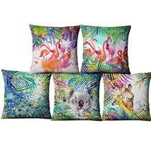 Ręcznie malowana nadrukowana farba akwarelowa lniana poszewka na poduszkę zwierzęta rośliny Flamingo żyrafa poszewka narzuta Home Decor ozdoba sofy