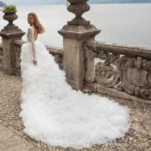 Image 5 - 2020 Sexy Deep V Neck Wedding Dresses Tiered Ruffles Tull Tain Bridal Gown A Line Long Sleeve Wedding Gowns