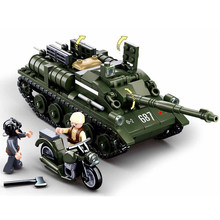 SU-85 Tank Destroyer tracked armored vehicle Mlitary Building Blocks assemble toys for children gift 0687 WW2 blocks(China)