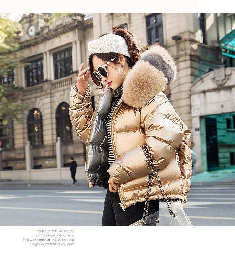 H3c48a1c1af2a4d6887c534770d498752U Natural Fox Fur Winter Jacket Women Gold Warm Parka Real Fur Down Coat Female White Duck Down Jacket Winter Waterproof Overcoat