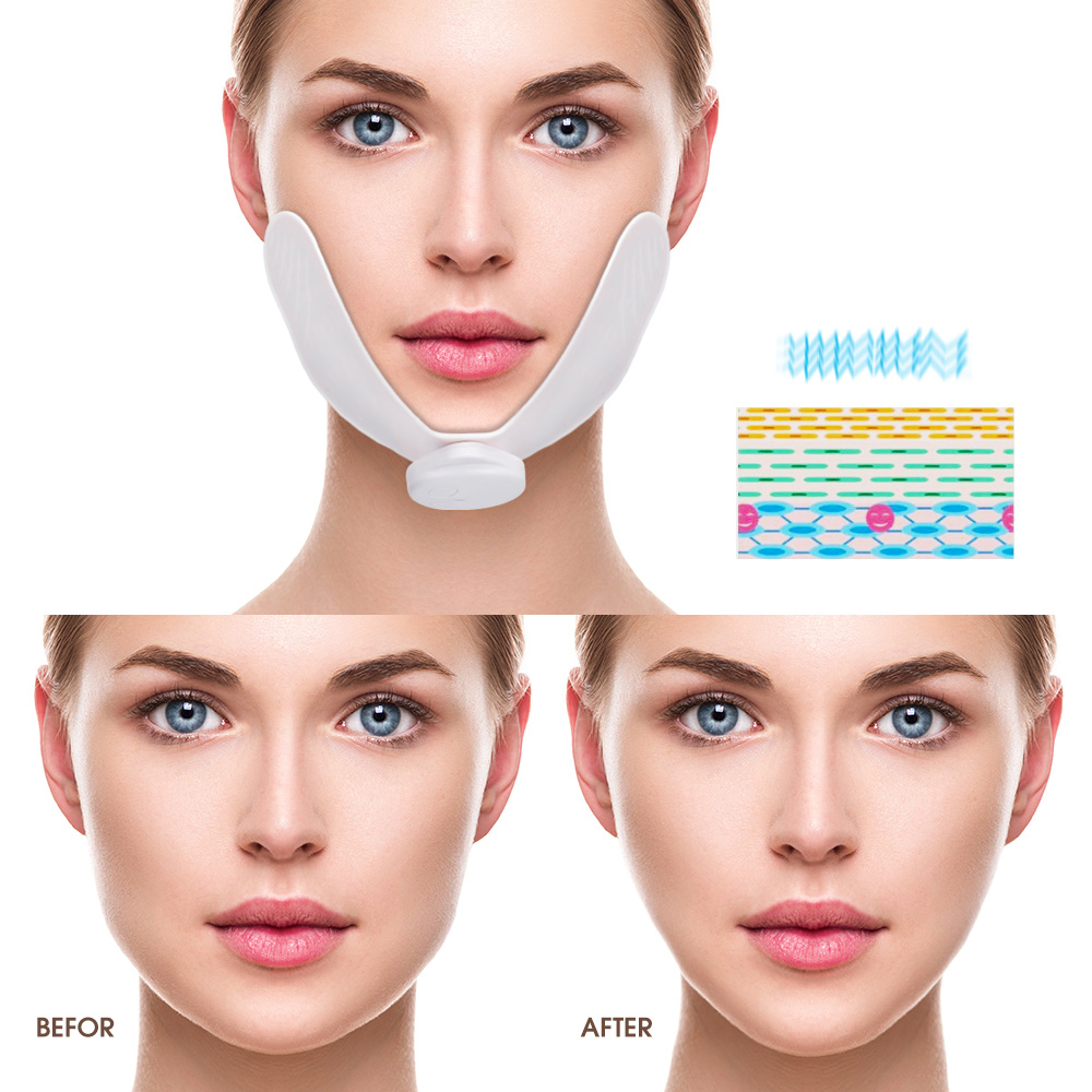 Image 2 - EMS Face Lifting Massager Face Slimming Muscle Stimulator Facial Massager Reduce Double Chin Skin Lift Tool With Gel Pads V FaceFace Skin Care Machine   -