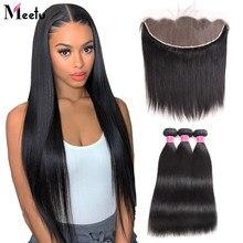 Meetu 13х6 фронтальная пряди Malaysiand, прямые пряди волос с фронтальной Non remy 13X4 фронтальная пряди человеческих волос