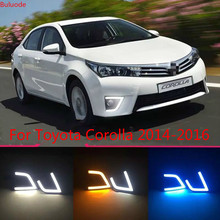 цена на LED Daytime Running Light For Toyota Corolla 2014 2015 2016 Car Accessories Waterproof ABS 12V DRL Fog Lamp Decoration