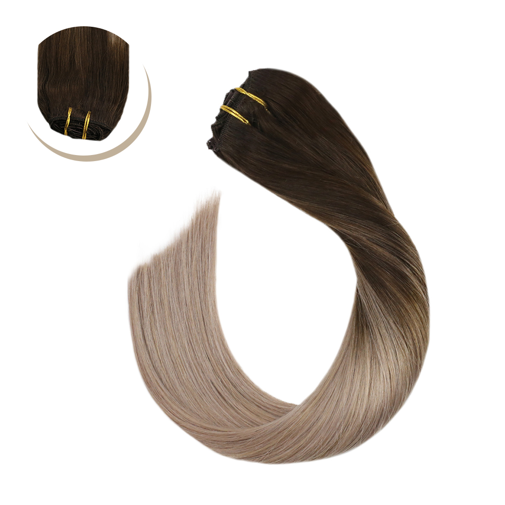 Ugeat Clip In Hair Extensions Full Head Human Hair Blonde Hair Machine Made Remy Brazilian Straight Hair Natural Soft Hair 7Pcs