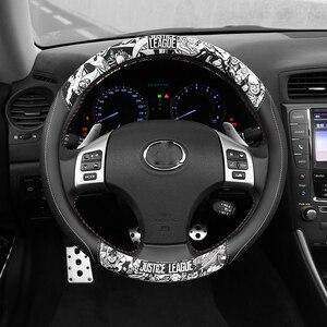 Cubiertas de volante de coche en forma de D, cubierta de cuero PU para volante, cubierta antideslizante de dibujos animados para volante de coche, accesorios para coche