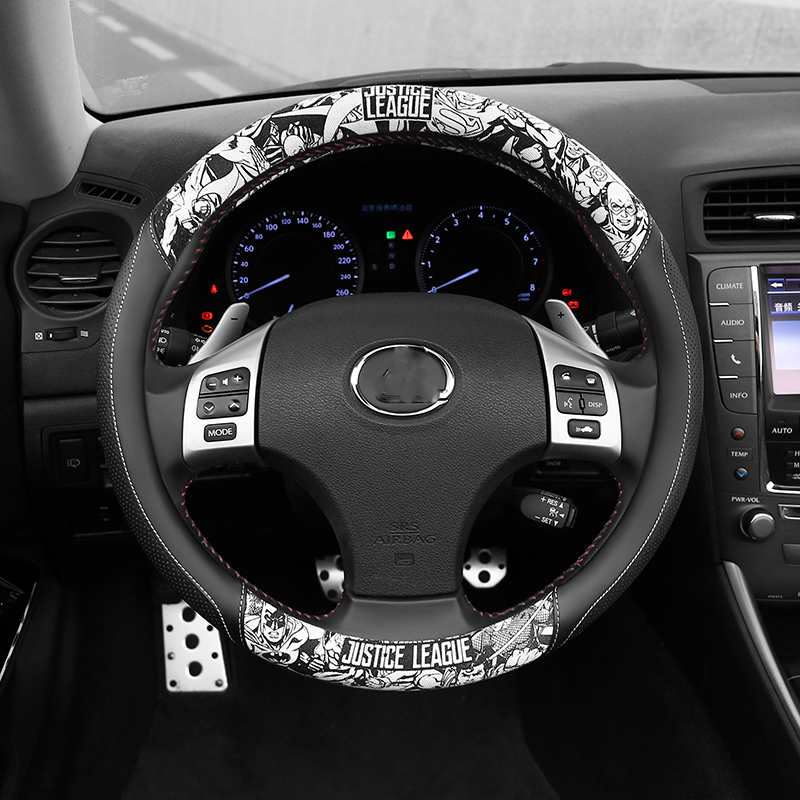 D Shape Car Steering Wheel Covers PU Leather Steering-Wheel Cover Cartoon Anti-Slip Auto Steering-Wheel Cover Car Accessories