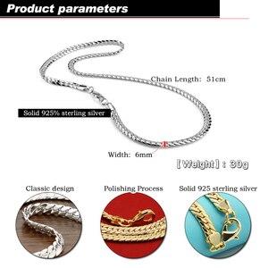 Image 2 - 100% solide 925 en argent sterling torsadé singapour chaîne 22 pouces 6mm pour femmes et hommes nouveau gros bricolage Long collier homme bijoux