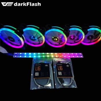 Darkflash DR12-pro aura sincronización de la caja de la computadora ventilador de refrigeración RGB ajustable LED 120mm IR control remoto de la computadora refrigeración RGB ventilador con cubierta de luz