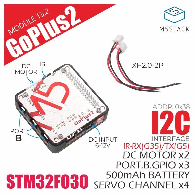 M5stack nova chegada goplus2 dc motor e servo driver módulo (stm32f0) ir transmissor e receptor terno para esp32 kit iic